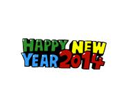 Sticker Line Happy New Year 2014
