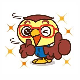 สติ๊กเกอร์ไลน์ชุด Fukutan: Official Owl of meganeSUPER