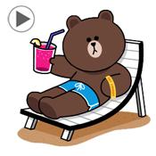 สติ๊กเกอร์ไลน์ชุด LINE Characters Happy Vacations
