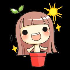 สติ๊กเกอร์ไลน์ชุด Plant Girl