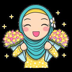 สติ๊กเกอร์ไลน์ชุด Flower Hijab 2