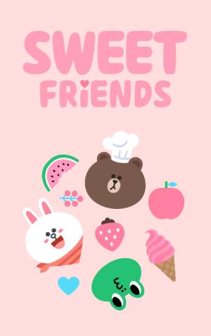 สติ๊กเกอร์ไลน์ชุด ธีม LINE Sweet Friends (ธีมไลน์คาแรคเตอร์ไลน์)