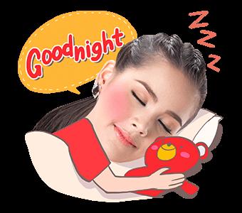 สติ๊กเกอร์ไลน์ญาญ่า TrueMove GoodNight นอนหลับฝันดี