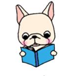 สติ๊กเกอร์น้องหมา French Bulldog อ่าหนนังสือเล่มสีฟ้า
