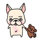 สติ๊กเกอร์น้องหมา French Bulldog เล่นตุ๊กตาหมี