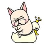 สติ๊กเกอร์น้องหมา French Bulldog ขี่เป็ดเหลือง