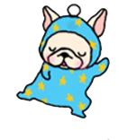 สติ๊กเกอร์น้องหมา French Bulldog ชุดเด็กทารกสีฟ้าลายจุดเหลือง