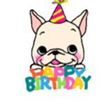 สติ๊กเกอร์น้องหมา French Bulldog Happy Birthday