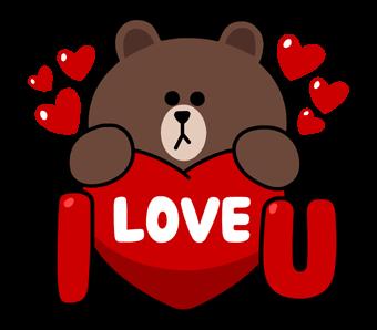 สติกเกอร์ไลน์  LINE characters  Love U  I  Brown love U