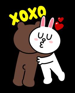 สติกเกอร์ไลน์  LINE characters  Love U Brown & Cony รักกันจุ๊บๆ
