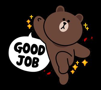 สติกเกอร์ไลน์  LINE characters  Love U Brown การทำงานที่ดี