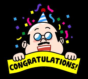 สติกเกอร์ไลน์  LINE characters  Love U Boss แสดงความยินดี