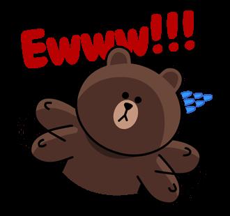 สติกเกอร์ไลน์  LINE characters  Love U Brown ฮิ้ว แหว่ะ