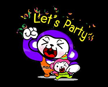 สติกเกอร์ไลน์ Monobo & Monokids let\'s party
