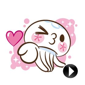 สติ๊กเกอร์ไลน์ชุด Clara the Jellyfish ดุ๊กดิ๊กกุ๊กกิ๊ก